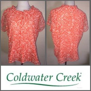 Coldwater Creek orange print blouse